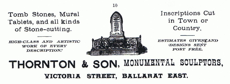 "Thornton & Son advertisement from ""Ballarat and District in 1901"""