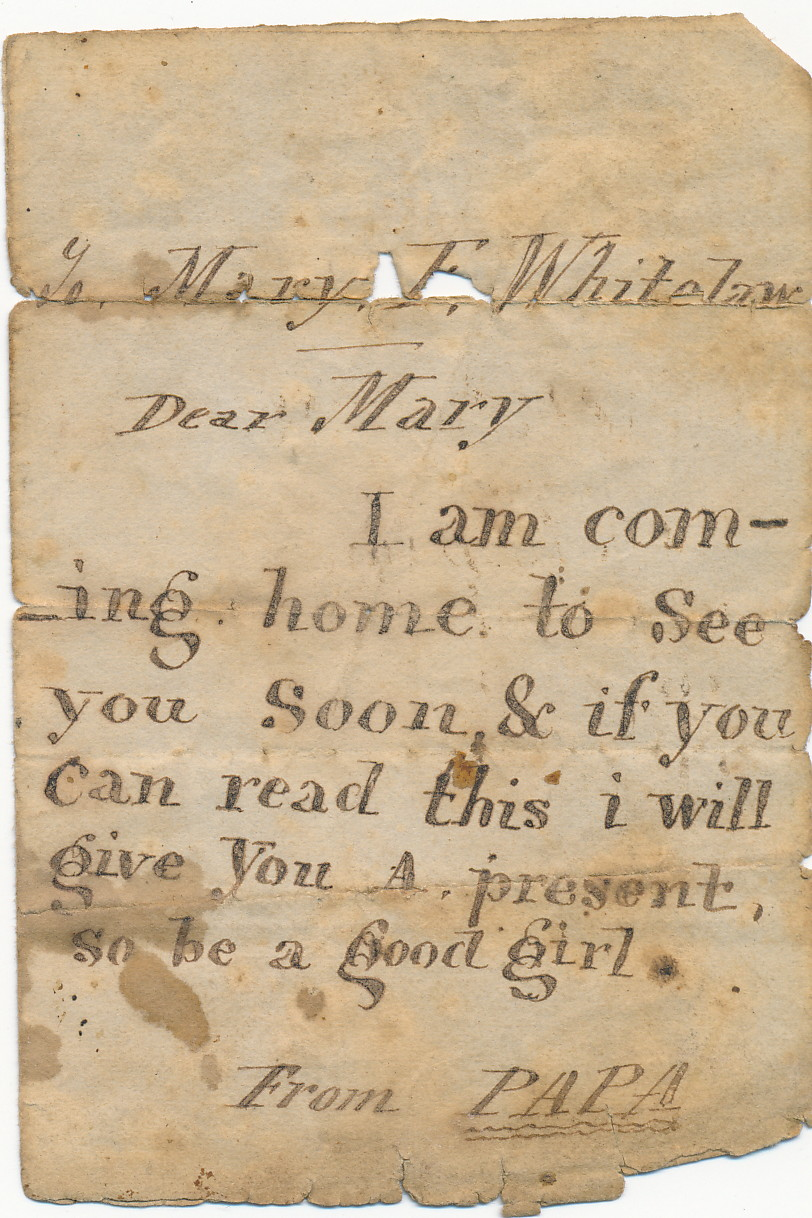 Letter to Mary Fenton Whitelaw from her father (c.1854) Image: Gold Museum Collection (91.0490)